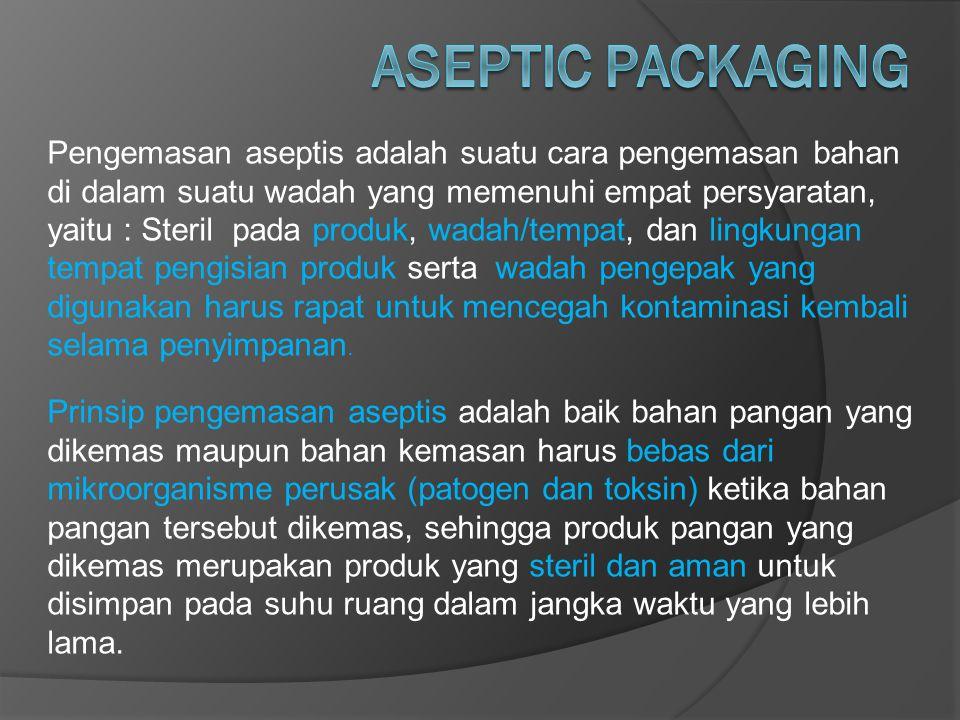 Pengemasan aseptis adalah suatu cara pengemasan bahan di dalam suatu wadah yang memenuhi empat persyaratan, yaitu : Steril pada produk, wadah/tempat,