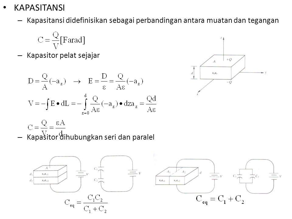 KAPASITANSI – Kapasitansi didefinisikan sebagai perbandingan antara muatan dan tegangan – Kapasitor pelat sejajar – Kapasitor dihubungkan seri dan par