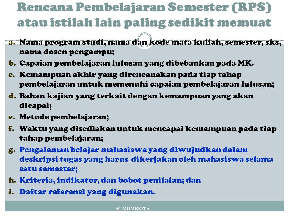 Rencana Pembelajaran Semester (RPS) atau istilah lain paling sedikit memuat a.Nama program studi, nama dan kode mata kuliah, semester, sks, nama dosen pengampu; b.Capaian pembelajaran lulusan yang dibebankan pada MK.