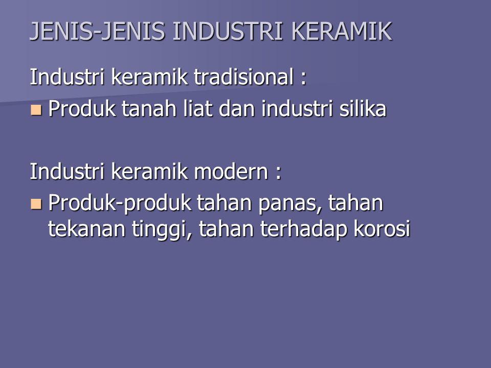 JENIS-JENIS INDUSTRI KERAMIK Industri keramik tradisional : Produk tanah liat dan industri silika Produk tanah liat dan industri silika Industri keram