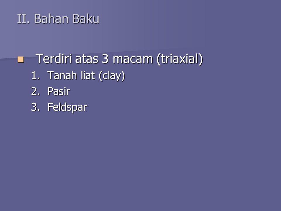 II. Bahan Baku Terdiri atas 3 macam (triaxial) Terdiri atas 3 macam (triaxial) 1.Tanah liat (clay) 2.Pasir 3.Feldspar