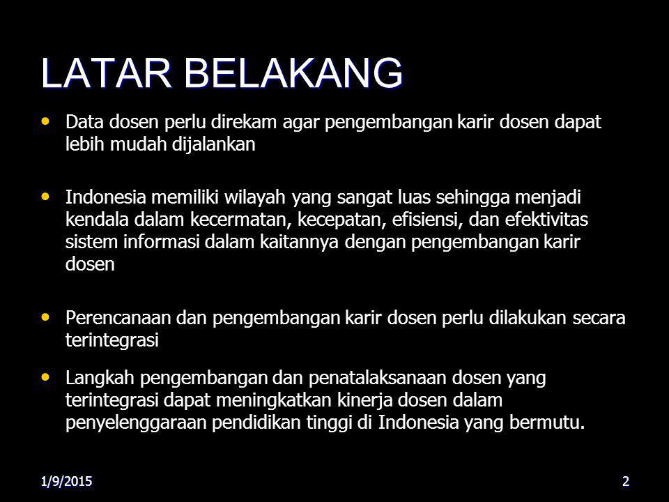 LATAR BELAKANG Data dosen perlu direkam agar pengembangan karir dosen dapat lebih mudah dijalankan Indonesia memiliki wilayah yang sangat luas sehingg