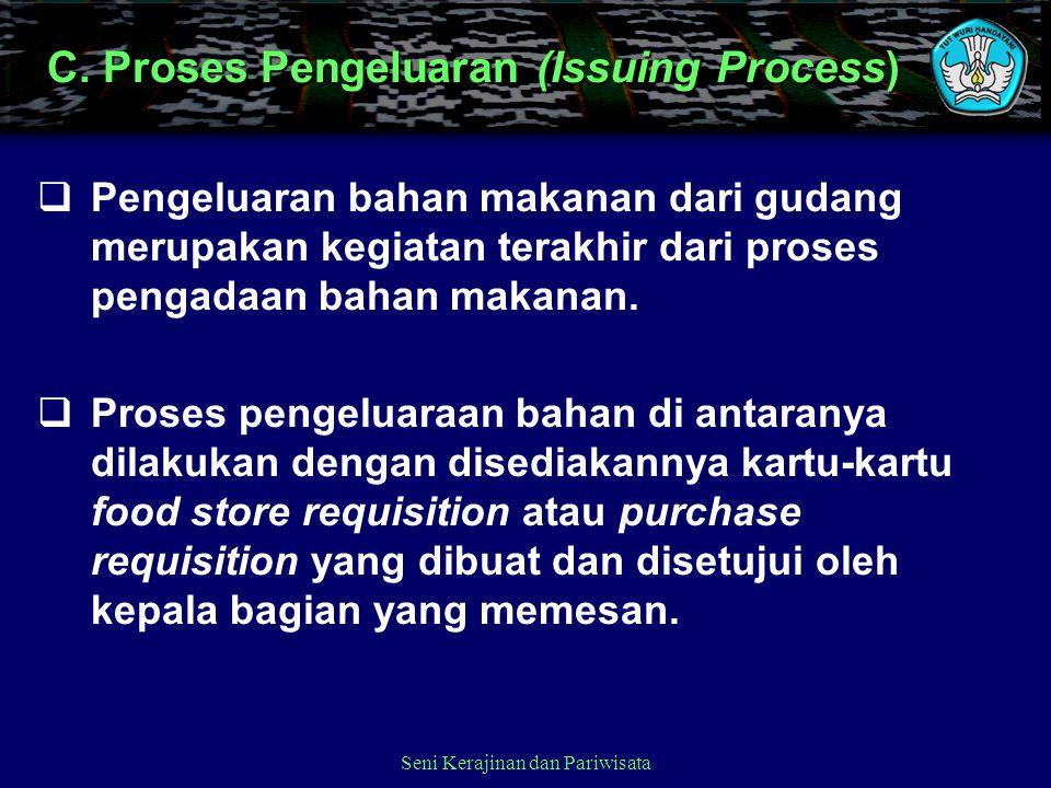 C. Proses Pengeluaran (Issuing Process)  Pengeluaran bahan makanan dari gudang merupakan kegiatan terakhir dari proses pengadaan bahan makanan.  Pro