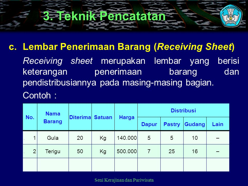 Seni Kerajinan dan Pariwisata c. Lembar Penerimaan Barang (Receiving Sheet) Receiving sheet merupakan lembar yang berisi keterangan penerimaan barang