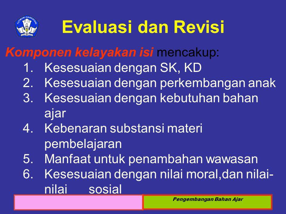 Sosialisasi KTSP 2008 Pengembangan Bahan Ajar Evaluasi dan Revisi Komponen kelayakan isi mencakup: 1.Kesesuaian dengan SK, KD 2.Kesesuaian dengan perk