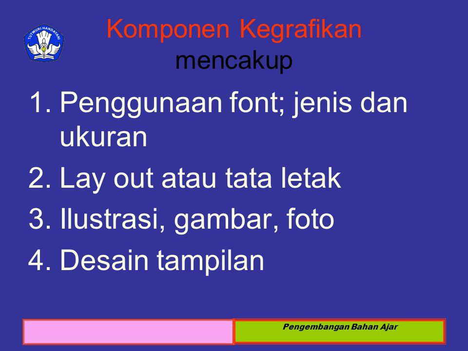Sosialisasi KTSP 2008 Pengembangan Bahan Ajar Komponen Kegrafikan mencakup 1.Penggunaan font; jenis dan ukuran 2.Lay out atau tata letak 3.Ilustrasi,