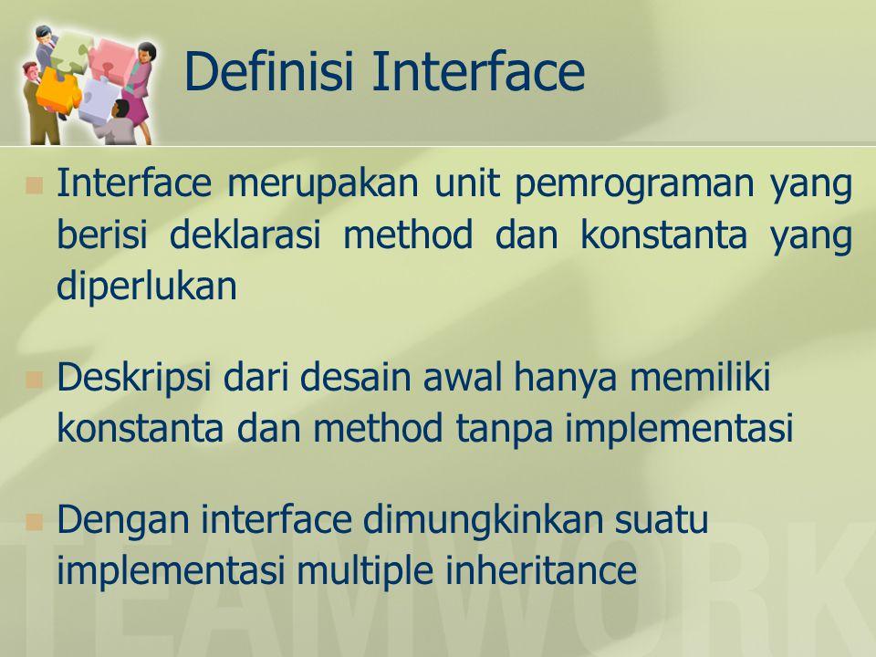 Definisi Interface Interface merupakan unit pemrograman yang berisi deklarasi method dan konstanta yang diperlukan Deskripsi dari desain awal hanya me