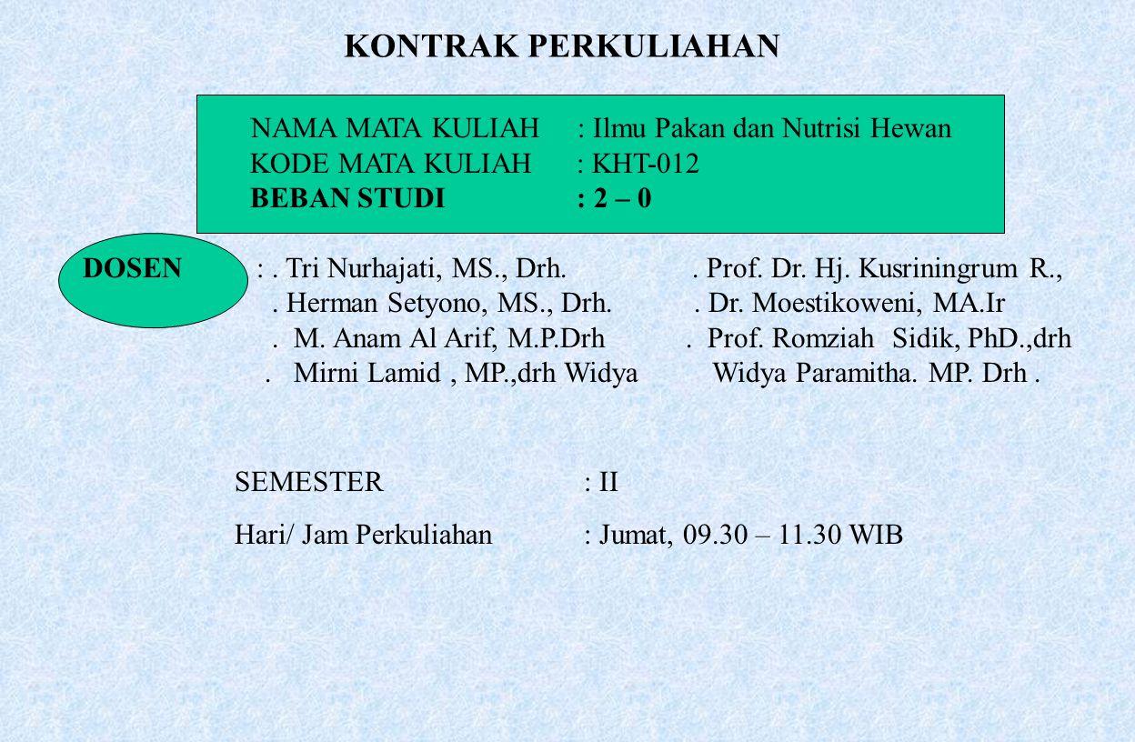 NAMA MATA KULIAH : Ilmu Pakan dan Nutrisi Hewan KODE MATA KULIAH : KHT-012 BEBAN STUDI : 2 – 0 DOSEN:. Tri Nurhajati, MS., Drh.. Prof. Dr. Hj. Kusrini