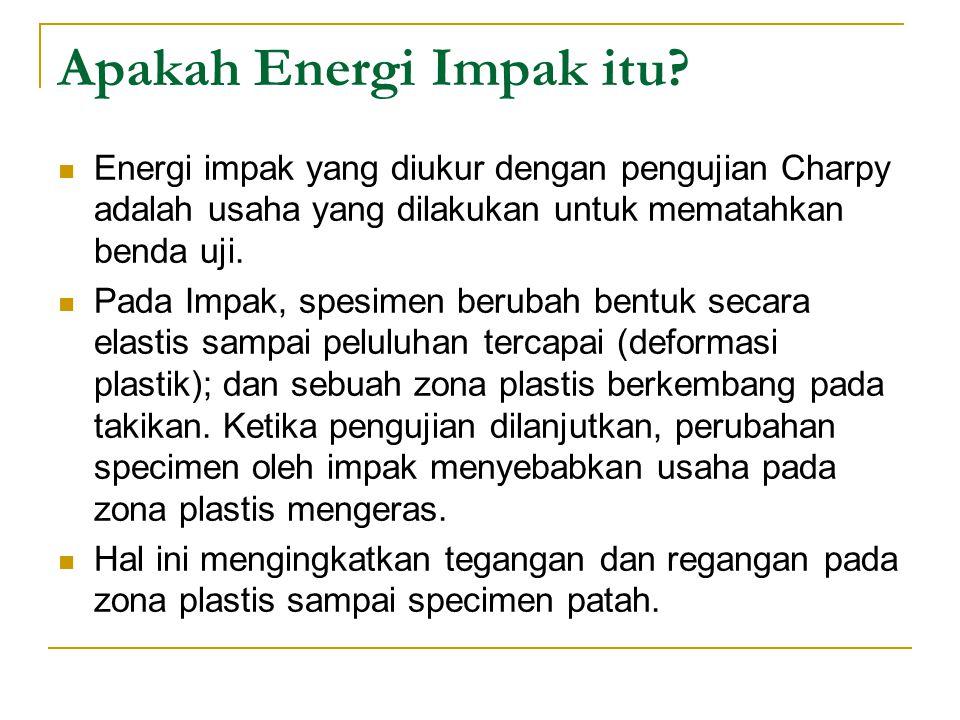 Apakah Energi Impak itu? Energi impak yang diukur dengan pengujian Charpy adalah usaha yang dilakukan untuk mematahkan benda uji. Pada Impak, spesimen