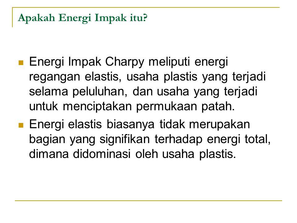 Apakah Energi Impak itu? Energi Impak Charpy meliputi energi regangan elastis, usaha plastis yang terjadi selama peluluhan, dan usaha yang terjadi unt