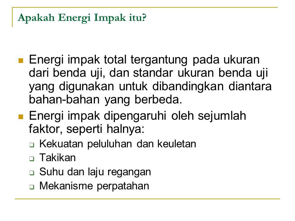 Energi impak total tergantung pada ukuran dari benda uji, dan standar ukuran benda uji yang digunakan untuk dibandingkan diantara bahan-bahan yang ber