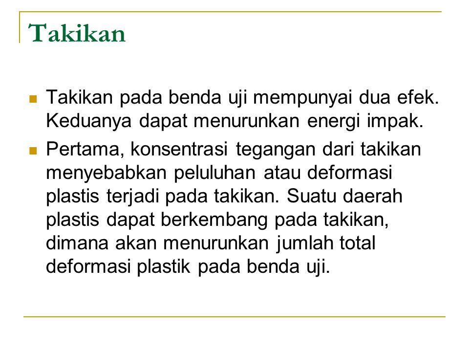 Takikan Takikan pada benda uji mempunyai dua efek. Keduanya dapat menurunkan energi impak. Pertama, konsentrasi tegangan dari takikan menyebabkan pelu
