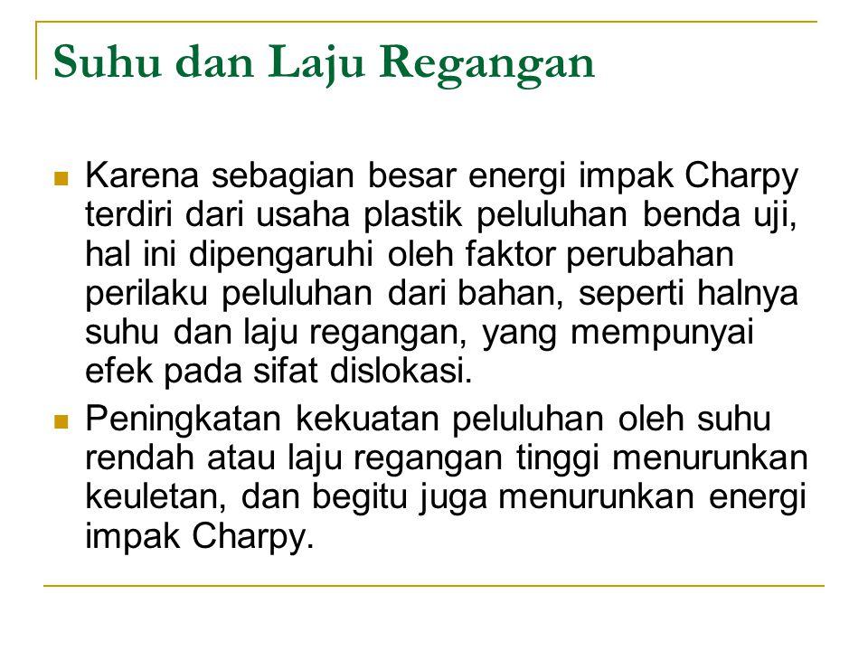 Suhu dan Laju Regangan Karena sebagian besar energi impak Charpy terdiri dari usaha plastik peluluhan benda uji, hal ini dipengaruhi oleh faktor perub
