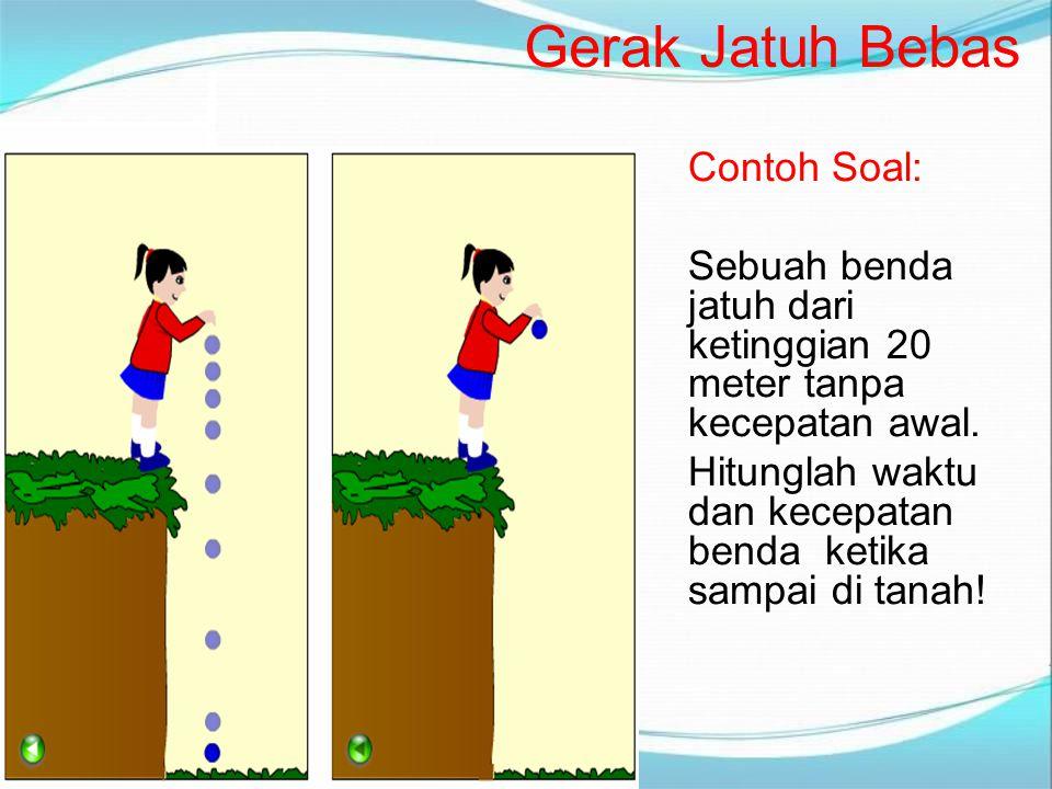 Contoh Soal: Sebuah benda jatuh dari ketinggian 20 meter tanpa kecepatan awal. Hitunglah waktu dan kecepatan benda ketika sampai di tanah! Gerak Jatuh
