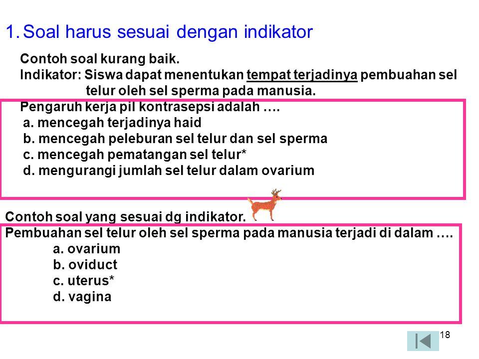 17 CONTOH SOAL PG Dasar pertanyaan (stimulus) Pokok soal (stem) Pilihan jawaban (option) Perhatikan iklan berikut.