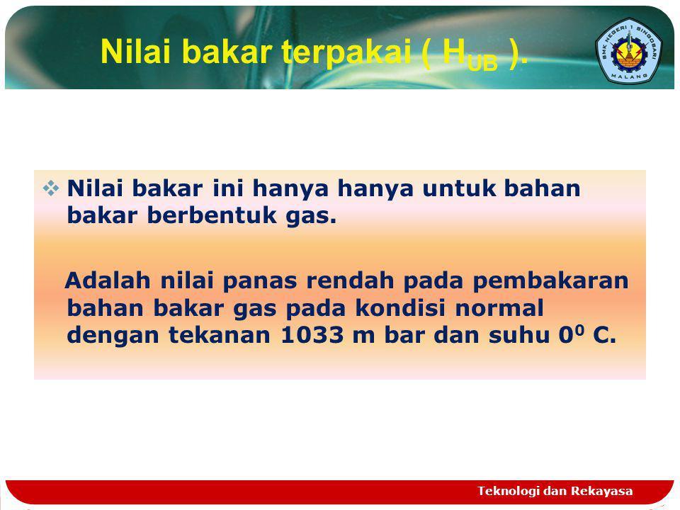 Nilai bakar terpakai ( H UB ).  Nilai bakar ini hanya hanya untuk bahan bakar berbentuk gas. Adalah nilai panas rendah pada pembakaran bahan bakar ga