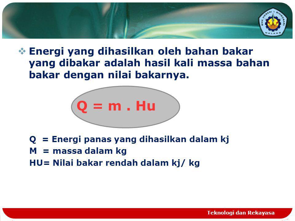  Energi yang dihasilkan oleh bahan bakar yang dibakar adalah hasil kali massa bahan bakar dengan nilai bakarnya. Q = m. Hu Q = Energi panas yang diha