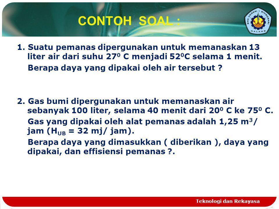 CONTOH SOAL : 1. Suatu pemanas dipergunakan untuk memanaskan 13 liter air dari suhu 27 0 C menjadi 52 0 C selama 1 menit. Berapa daya yang dipakai ole