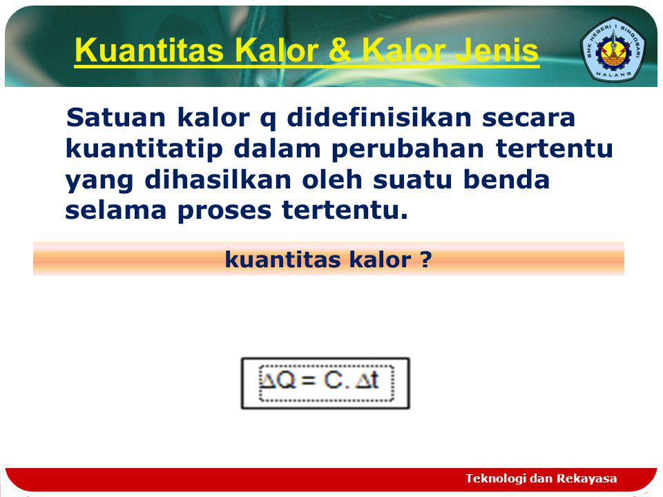 Q = Kuantitas kalor dalam k kal (kilo kalori) C = Kapasitas kalor dalam k kal / 0 C t = Kenaikan suhu dalam 0 C Teknologi dan Rekayasa