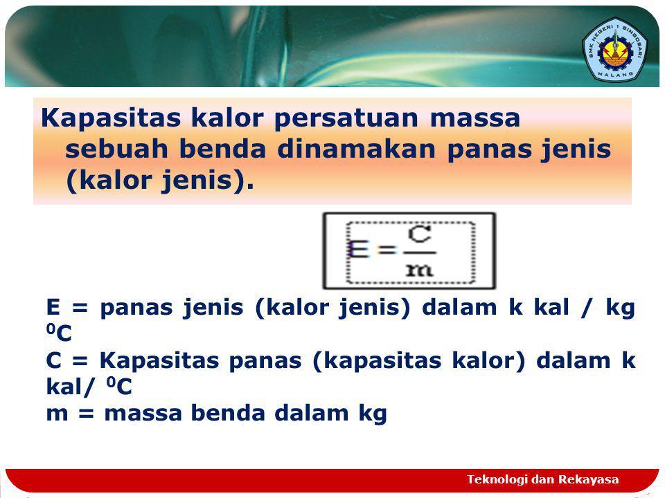 Kapasitas kalor persatuan massa sebuah benda dinamakan panas jenis (kalor jenis). Teknologi dan Rekayasa E = panas jenis (kalor jenis) dalam k kal / k