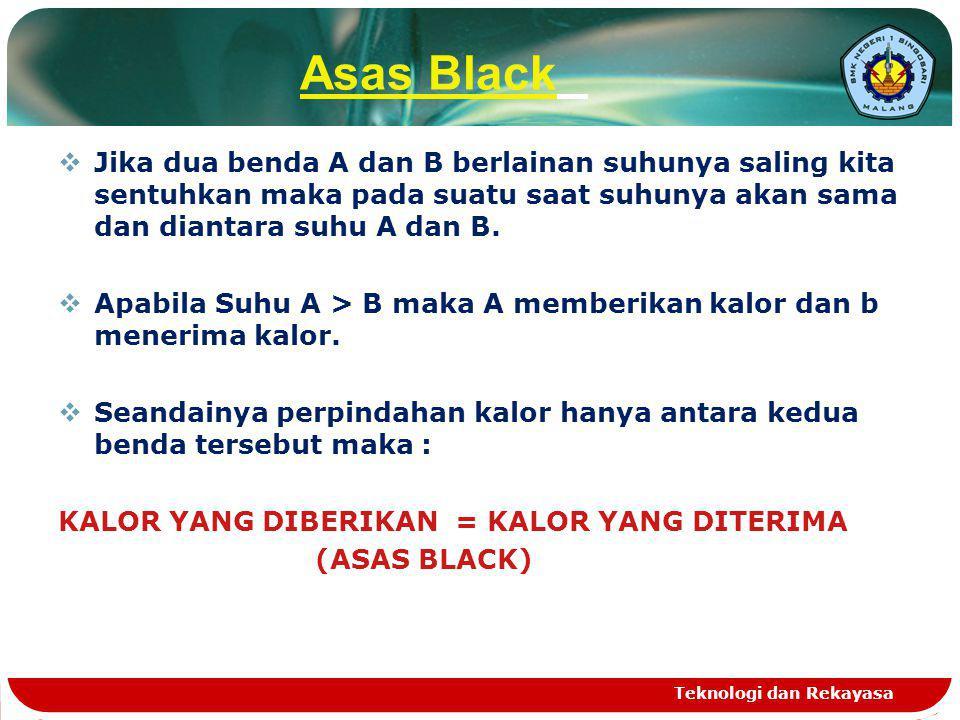 Asas Black  Jika dua benda A dan B berlainan suhunya saling kita sentuhkan maka pada suatu saat suhunya akan sama dan diantara suhu A dan B.  Apabil