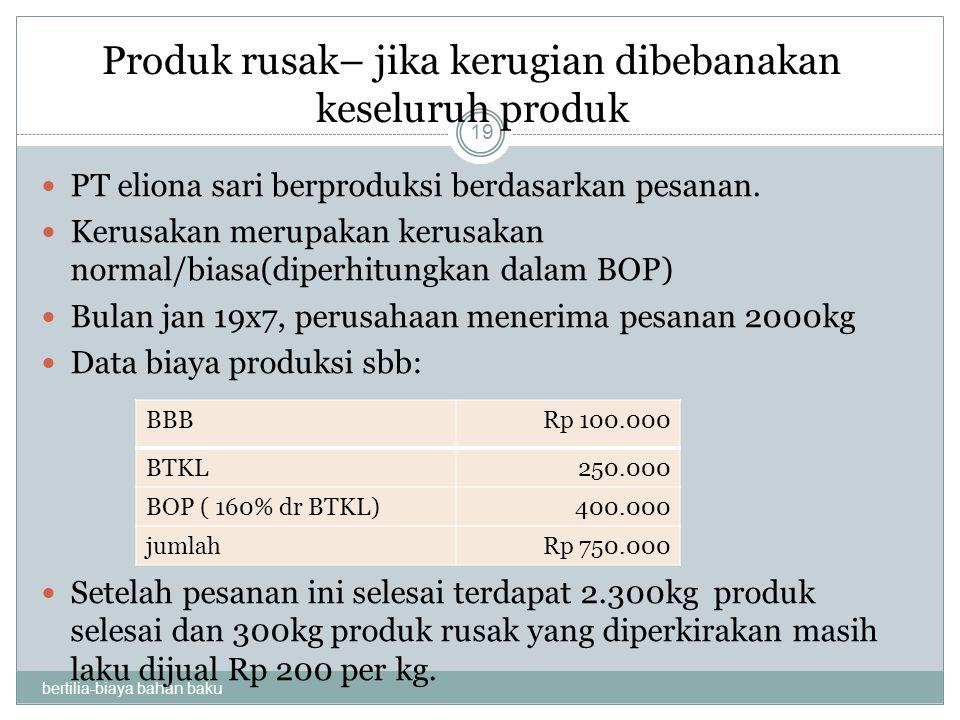 Produk rusak– jika kerugian dibebanakan keseluruh produk bertilia-biaya bahan baku 19 PT eliona sari berproduksi berdasarkan pesanan. Kerusakan merupa