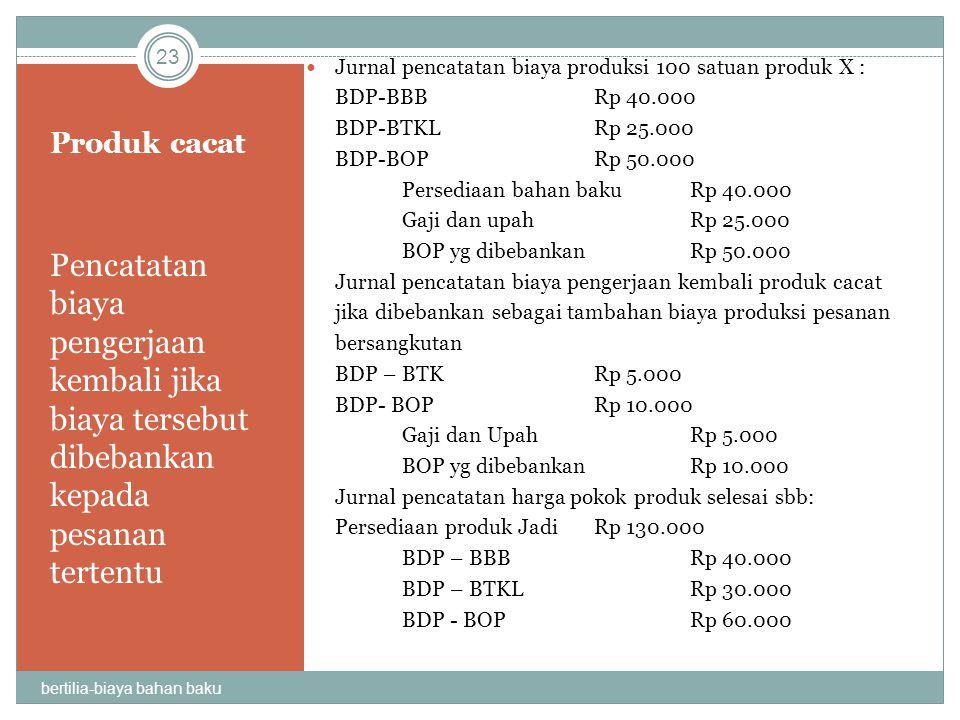 Produk cacat Pencatatan biaya pengerjaan kembali jika biaya tersebut dibebankan kepada pesanan tertentu Jurnal pencatatan biaya produksi 100 satuan pr