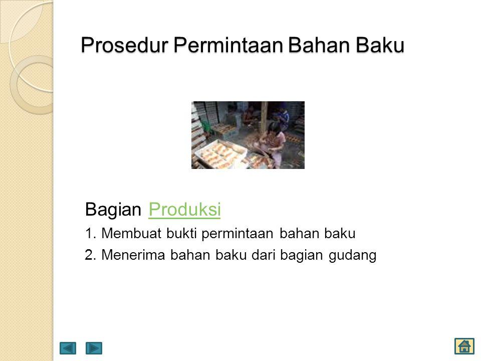 Prosedur Permintaan Bahan Baku Bagian ProduksiProduksi 1. Membuat bukti permintaan bahan baku 2. Menerima bahan baku dari bagian gudang
