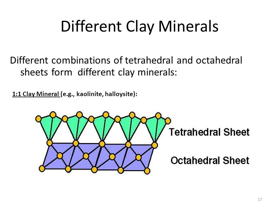 Different Clay Minerals 17 Different combinations of tetrahedral and octahedral sheets form different clay minerals: 1:1 Clay Mineral (e.g., kaolinite