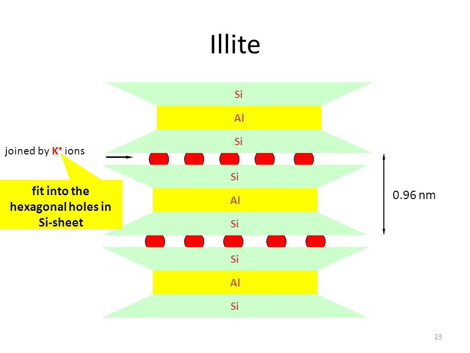 Illite 23 Si Al Si Al Si Al Si 0.96 nm joined by K + ions fit into the hexagonal holes in Si-sheet