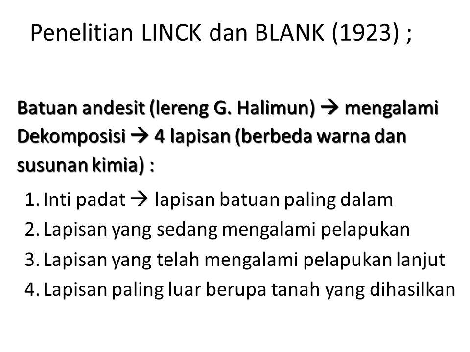 Penelitian LINCK dan BLANK (1923) ; 1.Inti padat  lapisan batuan paling dalam 2.Lapisan yang sedang mengalami pelapukan 3.Lapisan yang telah mengalami pelapukan lanjut 4.Lapisan paling luar berupa tanah yang dihasilkan Batuan andesit (lereng G.