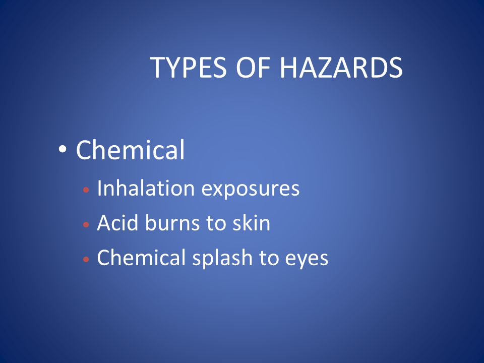 TYPES OF HAZARDS Chemical Inhalation exposures Acid burns to skin Chemical splash to eyes