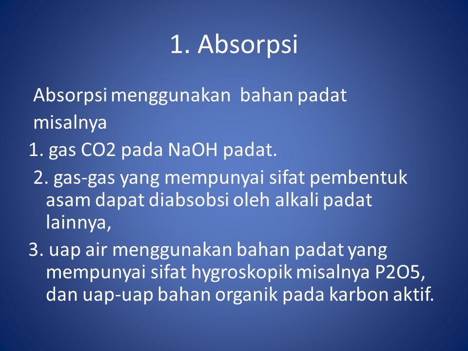 1. Absorpsi Absorpsi menggunakan bahan padat misalnya 1. gas CO2 pada NaOH padat. 2. gas-gas yang mempunyai sifat pembentuk asam dapat diabsobsi oleh
