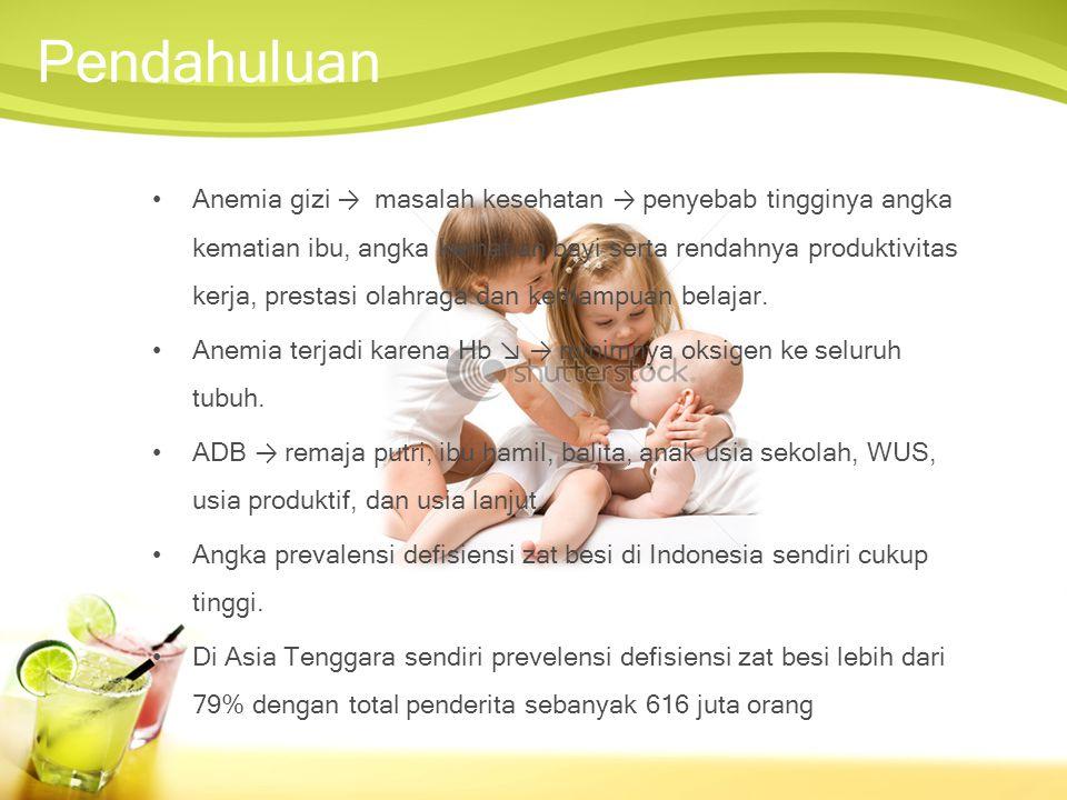 Anemia gizi → masalah kesehatan → penyebab tingginya angka kematian ibu, angka kematian bayi serta rendahnya produktivitas kerja, prestasi olahraga dan kemampuan belajar.