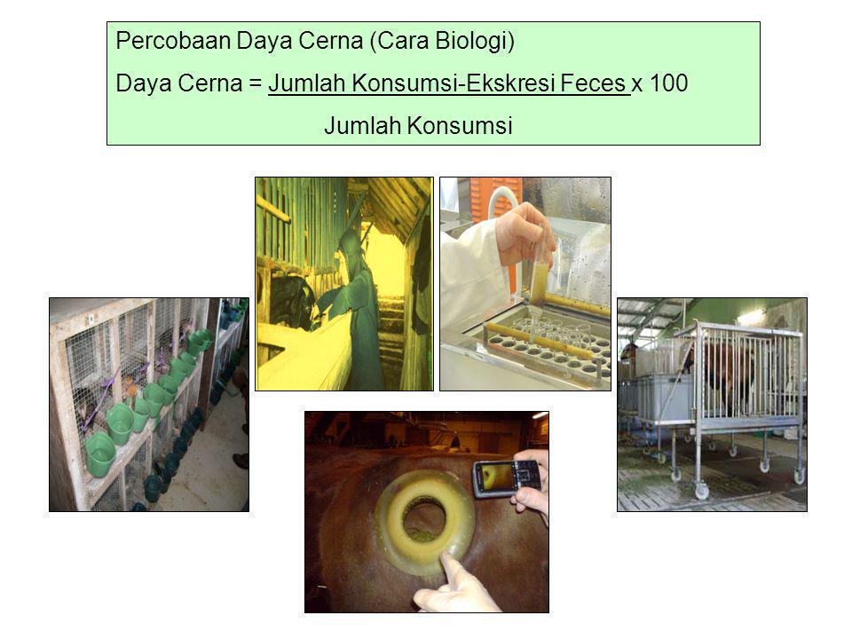 Percobaan Daya Cerna (Cara Biologi) Daya Cerna = Jumlah Konsumsi-Ekskresi Feces x 100 Jumlah Konsumsi