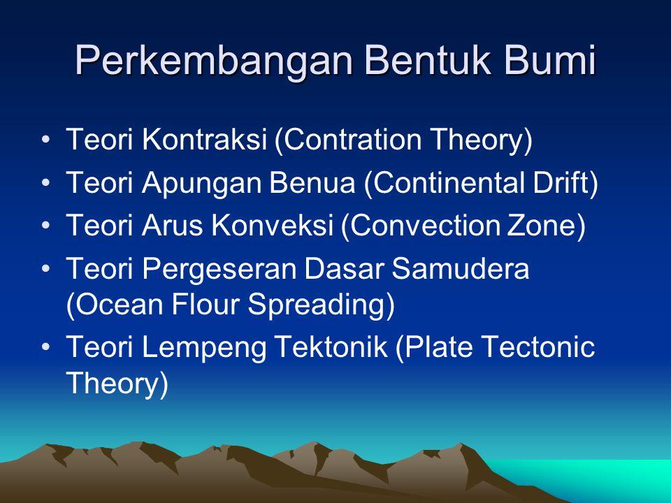 Perkembangan Bentuk Bumi Teori Kontraksi (Contration Theory) Teori Apungan Benua (Continental Drift) Teori Arus Konveksi (Convection Zone) Teori Perge