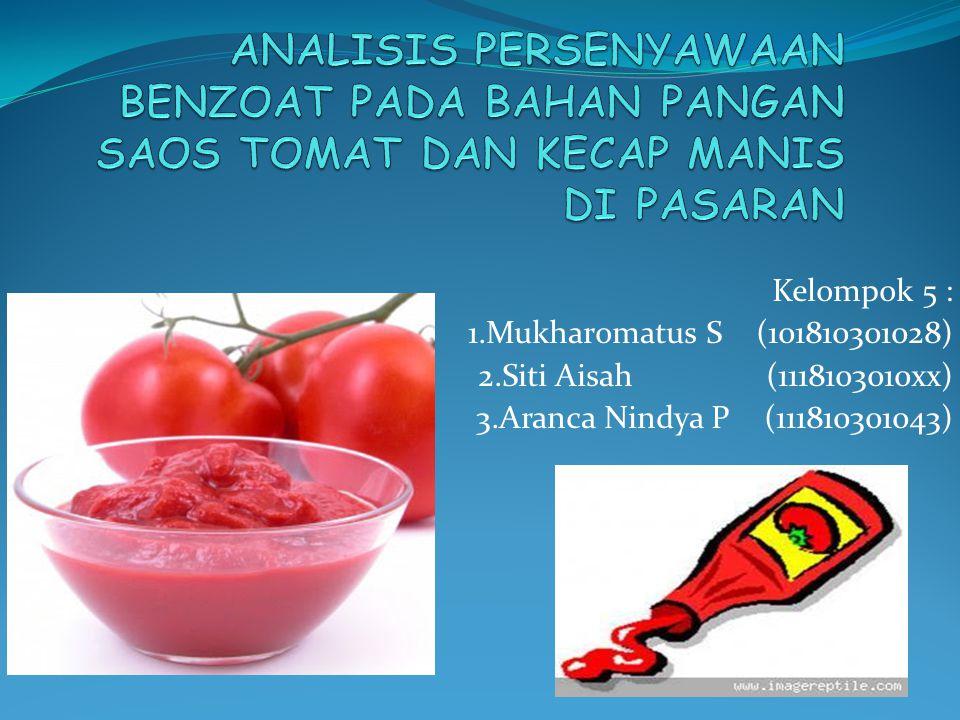 Saos Tomat Cairan kental (pasta) yang terbuat dari bubur buah tomat dan bumbu-bumbu, berwarna merah sesuai dengan warna tomat yang digunakan.