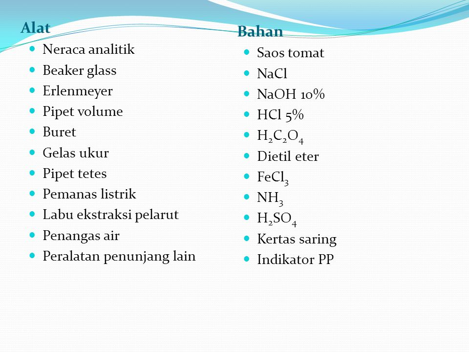 Alat Bahan Neraca analitik Beaker glass Erlenmeyer Pipet volume Buret Gelas ukur Pipet tetes Pemanas listrik Labu ekstraksi pelarut Penangas air Peral
