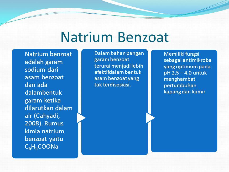Bentuk garam sodium dari asam benzoat ini mempunyai efek racun pada pemakaian berlebih terhadap konsumen,sehingga pemberian bahan pengawet ini tidak melebihi 0,1% dalam bahan makanan (Winarno,1992).