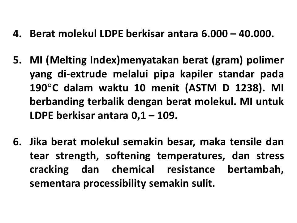 4.Berat molekul LDPE berkisar antara 6.000 – 40.000.