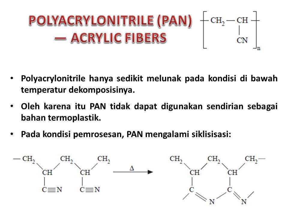 Polyacrylonitrile hanya sedikit melunak pada kondisi di bawah temperatur dekomposisinya.