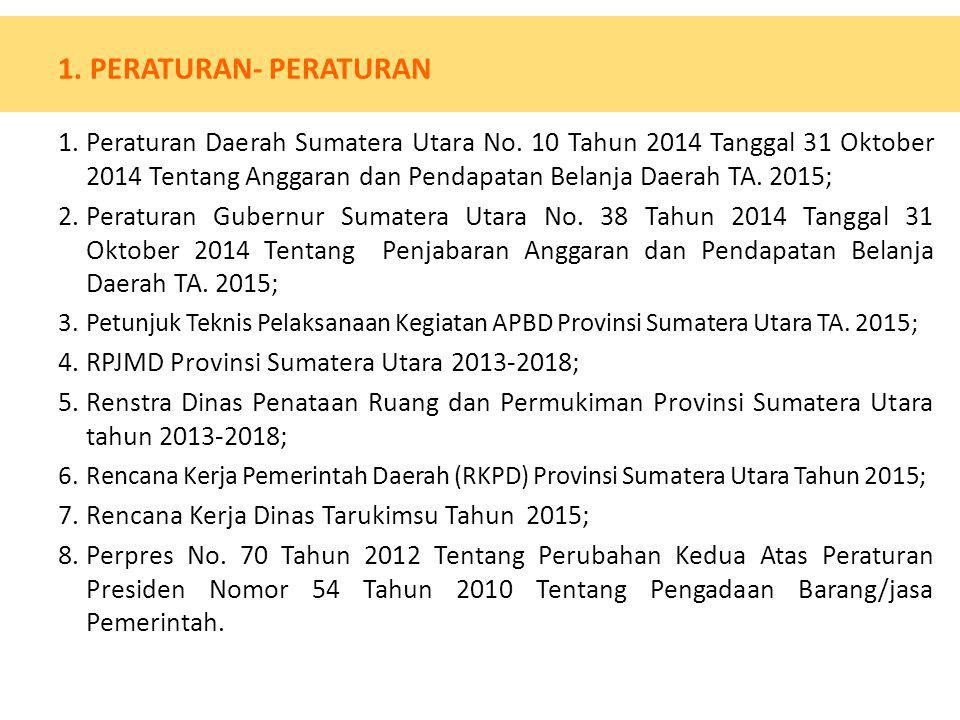 1. PERATURAN- PERATURAN 1.Peraturan Daerah Sumatera Utara No. 10 Tahun 2014 Tanggal 31 Oktober 2014 Tentang Anggaran dan Pendapatan Belanja Daerah TA.