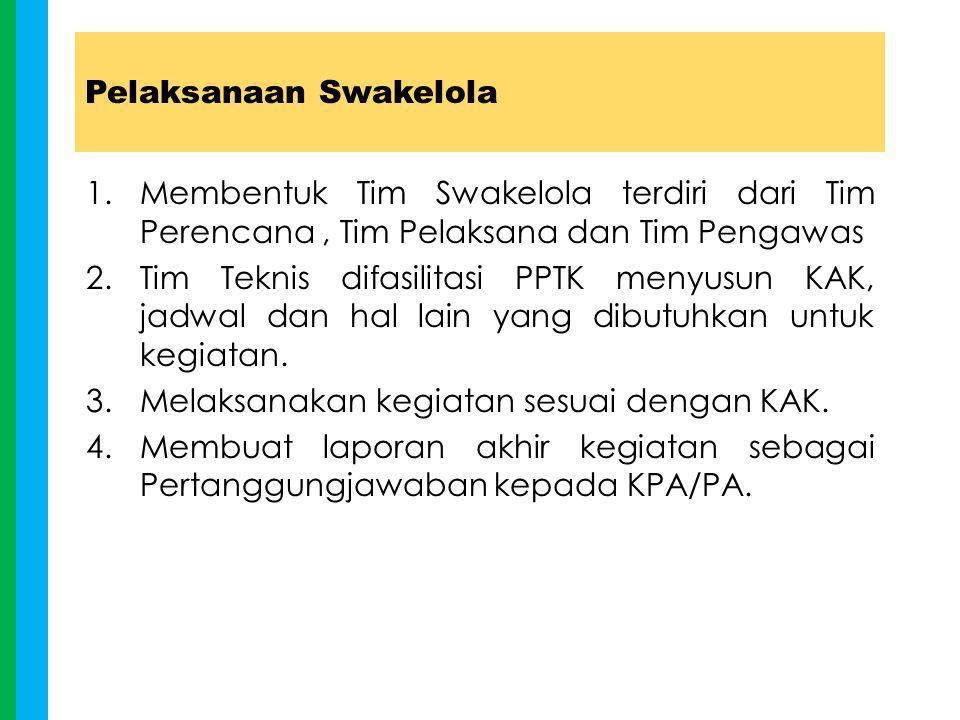 Pelaksanaan Swakelola 1.Membentuk Tim Swakelola terdiri dari Tim Perencana, Tim Pelaksana dan Tim Pengawas 2.Tim Teknis difasilitasi PPTK menyusun KAK