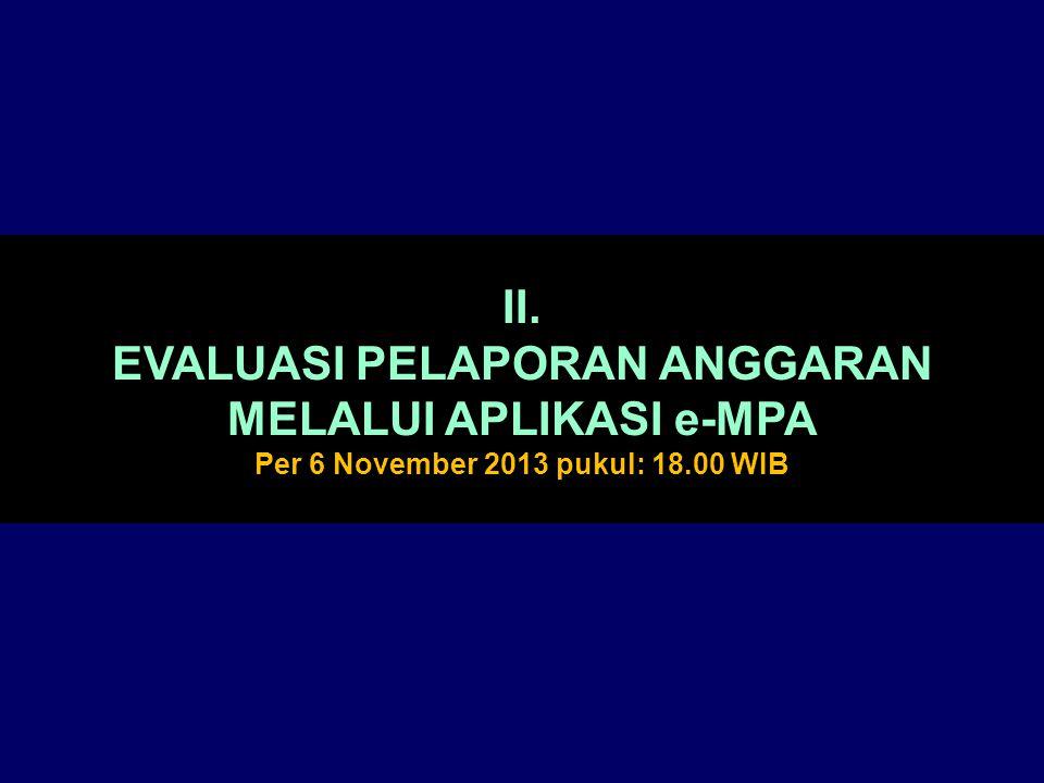 II. EVALUASI PELAPORAN ANGGARAN MELALUI APLIKASI e-MPA Per 6 November 2013 pukul: 18.00 WIB