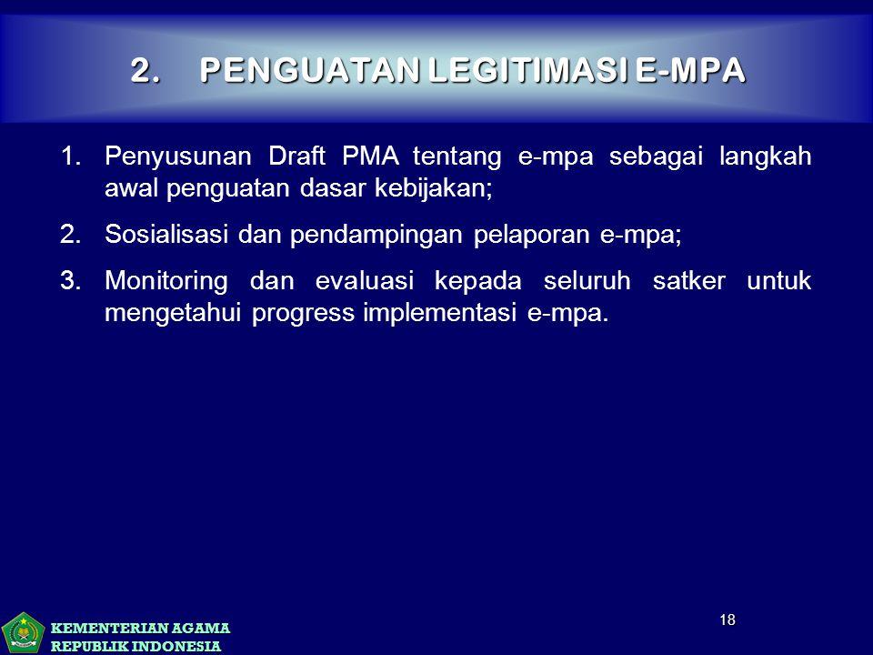 KEMENTERIAN AGAMA REPUBLIK INDONESIA 2.PENGUATAN LEGITIMASI E-MPA 18 1.Penyusunan Draft PMA tentang e-mpa sebagai langkah awal penguatan dasar kebijak