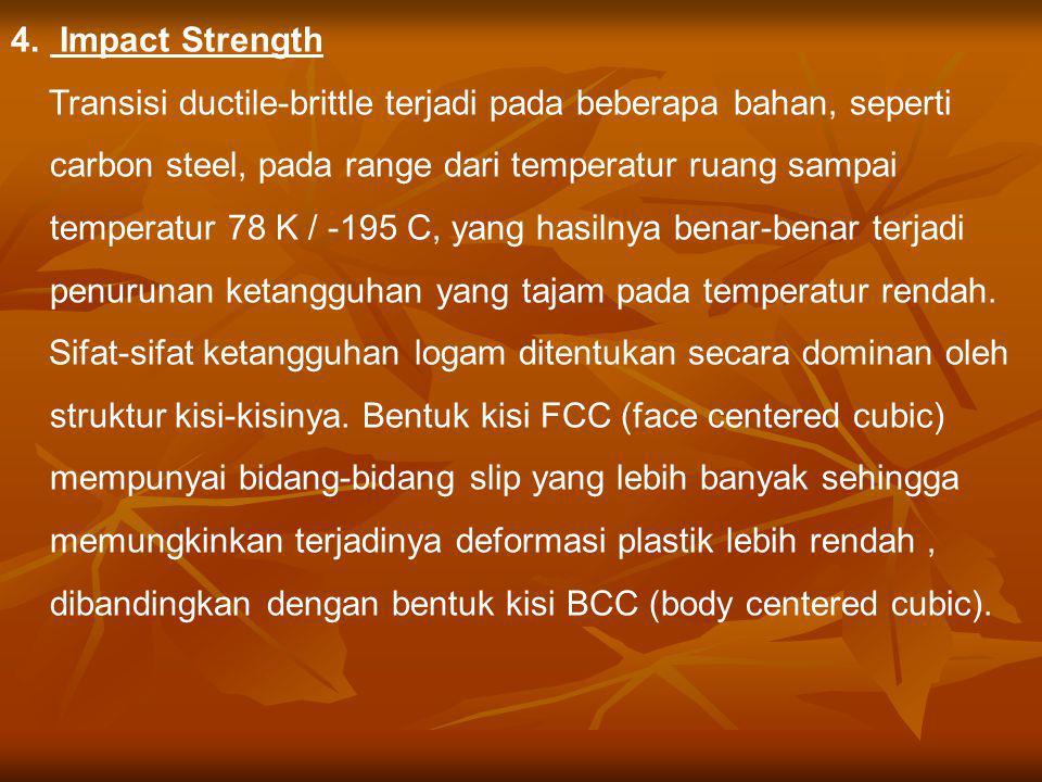 4. Impact Strength Transisi ductile-brittle terjadi pada beberapa bahan, seperti carbon steel, pada range dari temperatur ruang sampai temperatur 78 K