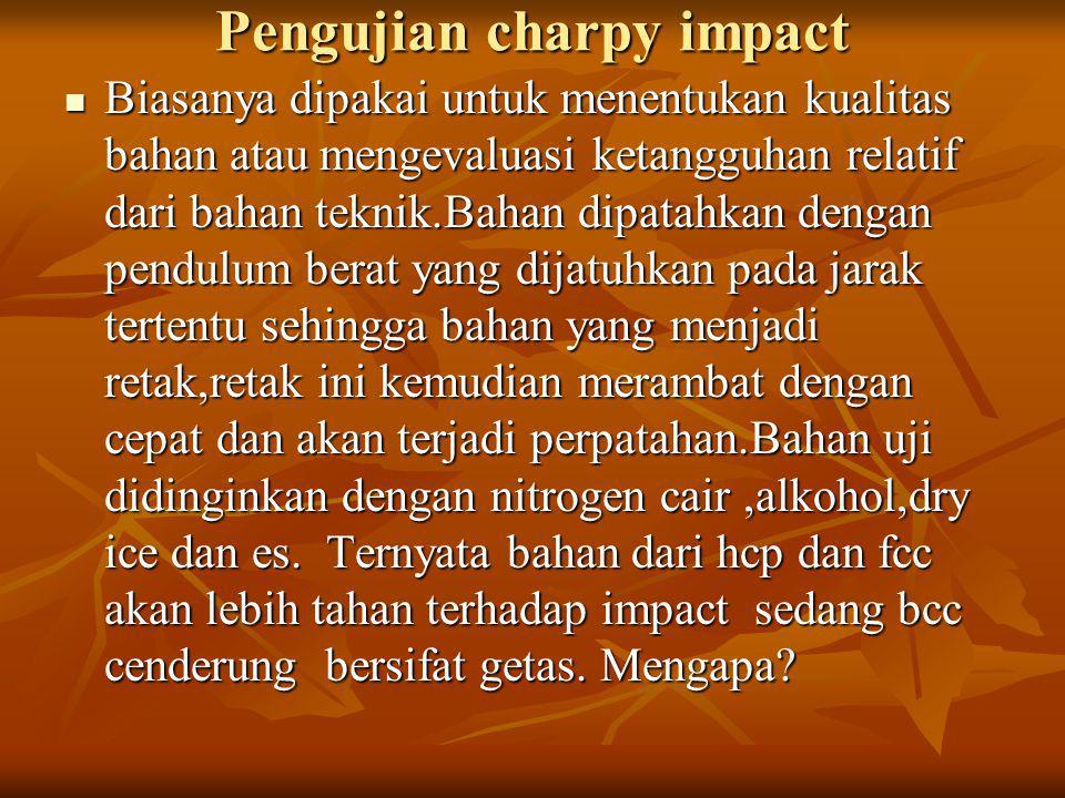Pengujian charpy impact Biasanya dipakai untuk menentukan kualitas bahan atau mengevaluasi ketangguhan relatif dari bahan teknik.Bahan dipatahkan deng