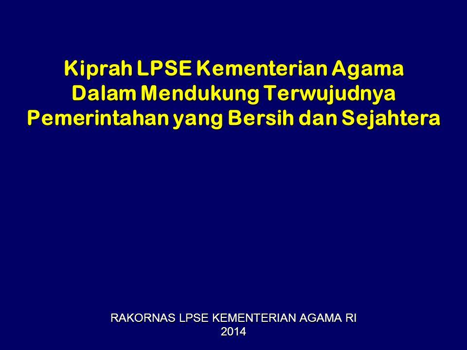Kiprah LPSE Kementerian Agama Dalam Mendukung Terwujudnya Pemerintahan yang Bersih dan Sejahtera RAKORNAS LPSE KEMENTERIAN AGAMA RI 2014