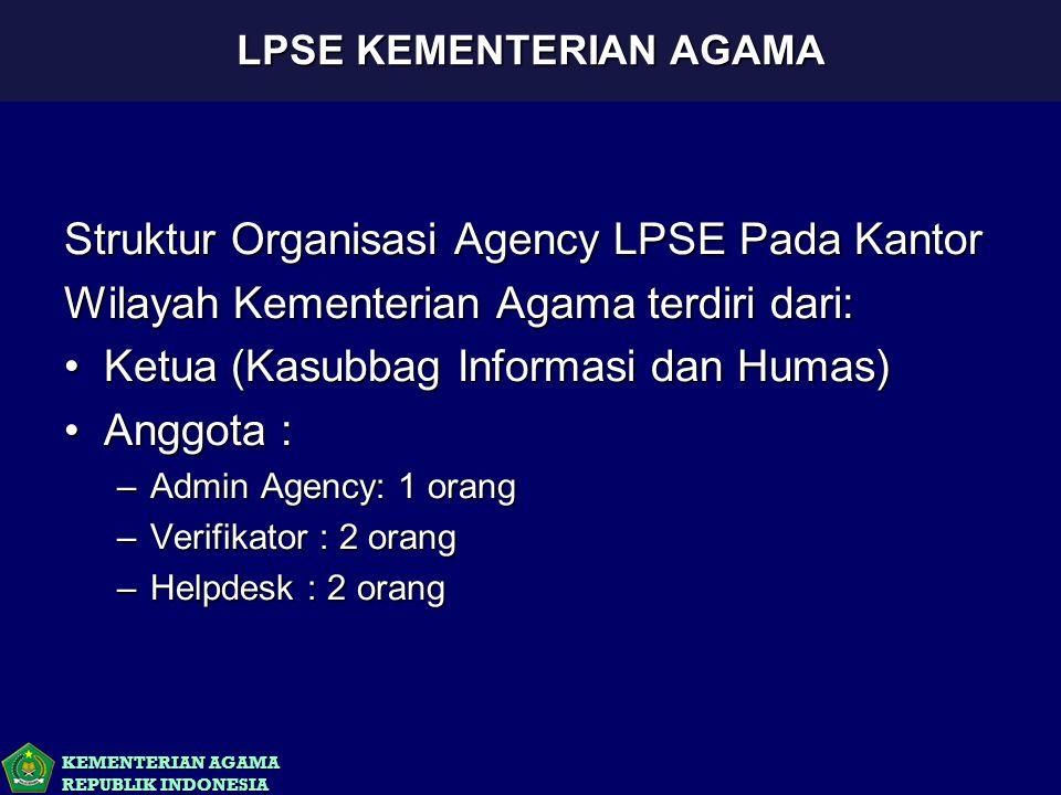 KEMENTERIAN AGAMA REPUBLIK INDONESIA Struktur Organisasi Agency LPSE Pada Kantor Wilayah Kementerian Agama terdiri dari: Ketua (Kasubbag Informasi dan