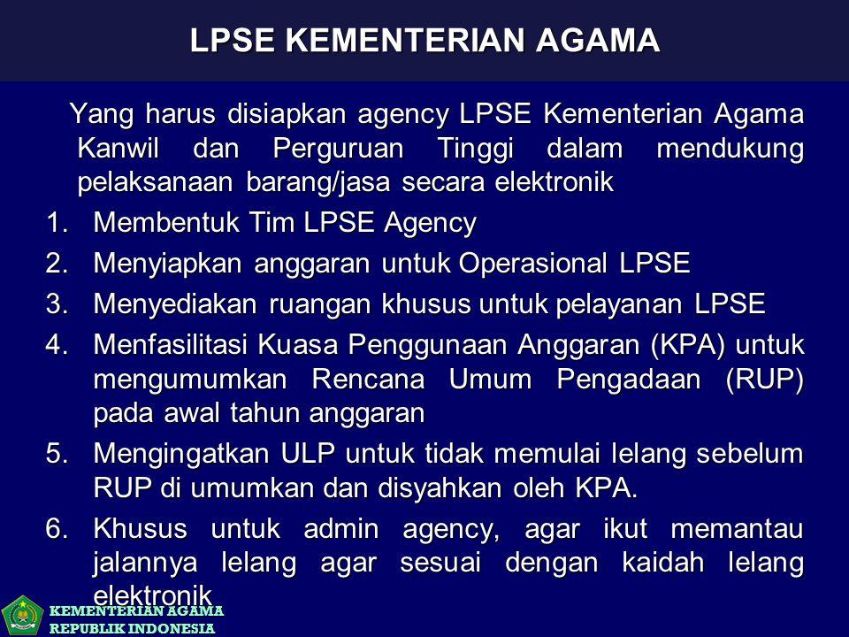 KEMENTERIAN AGAMA REPUBLIK INDONESIA Yang harus disiapkan agency LPSE Kementerian Agama Kanwil dan Perguruan Tinggi dalam mendukung pelaksanaan barang